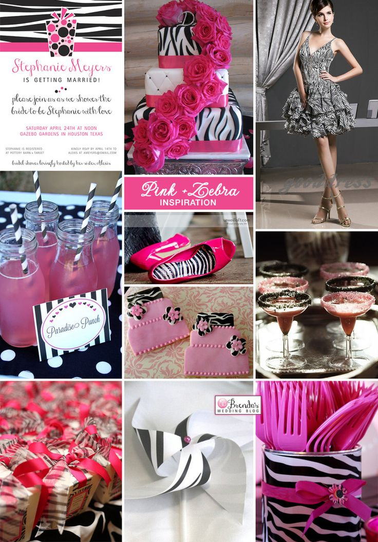 Pink zebra bridal shower inspiration board #bridalshowers #zebra #hotpink @Katie Miller