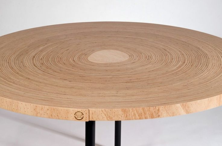 top detail of Unique Table Made of Twisted Bend Plywood