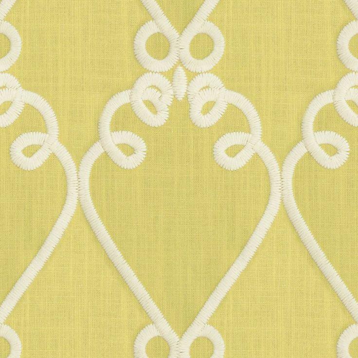 Green Embroidered Scroll Fabric | Loop de Loom Celery | Loom Decor