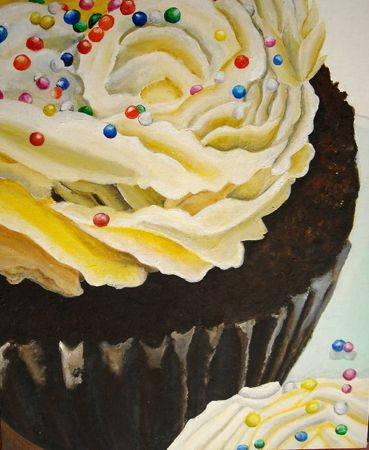 Cupcake Painting-Thiebaud-like. These would be fun painted large and displayed in the cafeteria.