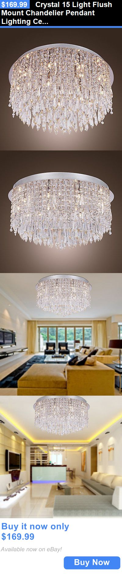 Lamps And Lighting: Crystal 15 Light Flush Mount Chandelier Pendant Lighting Ceiling Fixture Lamp BUY IT NOW ONLY: $169.99