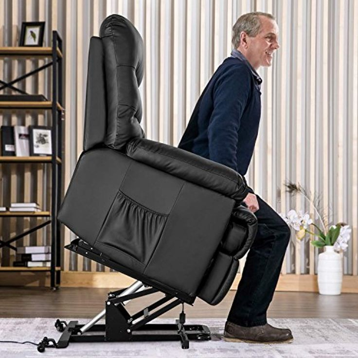 Merax Power Recliner and Lift Chair in Black PU leather Lift