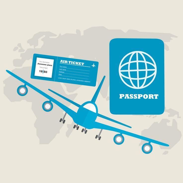 [フリーイラスト素材] イラスト, 旅行 / トラベル, 海外旅行, 旅客機, 航空機 / 飛行機, 乗り物, 世界地図, パスポート, 航空券 / 飛行機チケット, EPS ID:201410231100