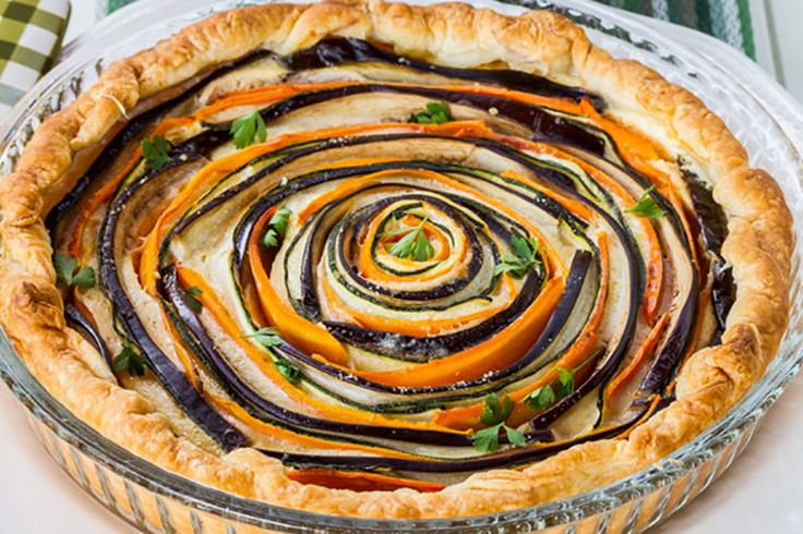 This Spiral Vegetable Ricotta Pie is made with with all natural, clean eating ingredients.