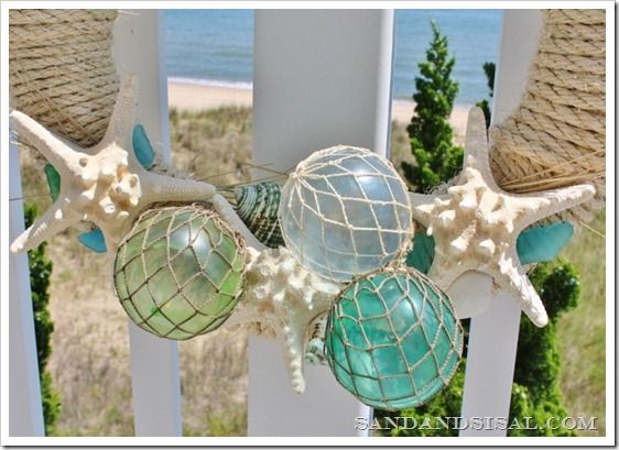 Beachy garland +starfish + with glass floats: diy..Summer + great for Christmas + year round + Beach Cottage + Nautical Decor + Flroida Home