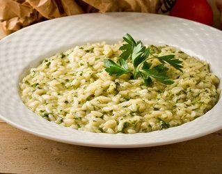 Maślane risotto z zielonymi pomidorami