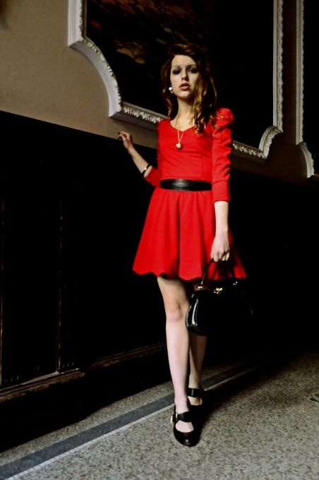 A-Line Above Knee Red Empire Vintage Dress - for xmas