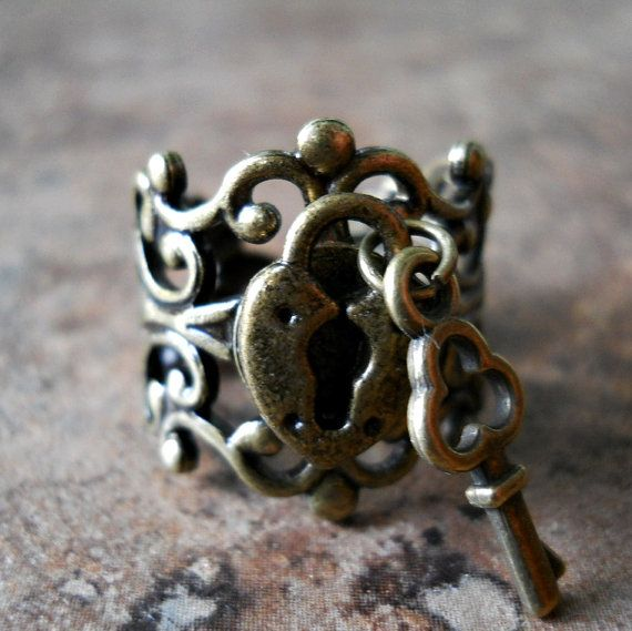 Sweetheart Lock and Key Steampunk Ring in by EnchantedLockets, $16.00. I want this so bad!!!