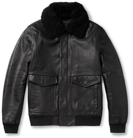 Marc by Marc Jacobs Lewisham Shearling-Collar Leather Bomber Jacket | MR PORTER
