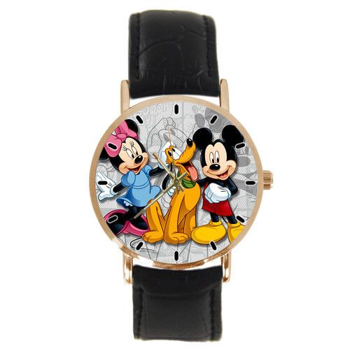 New Classic Cartoon Characters Quartz Wristwatch w/ Black Faux Leather Band #Imported #CartoonNovelty