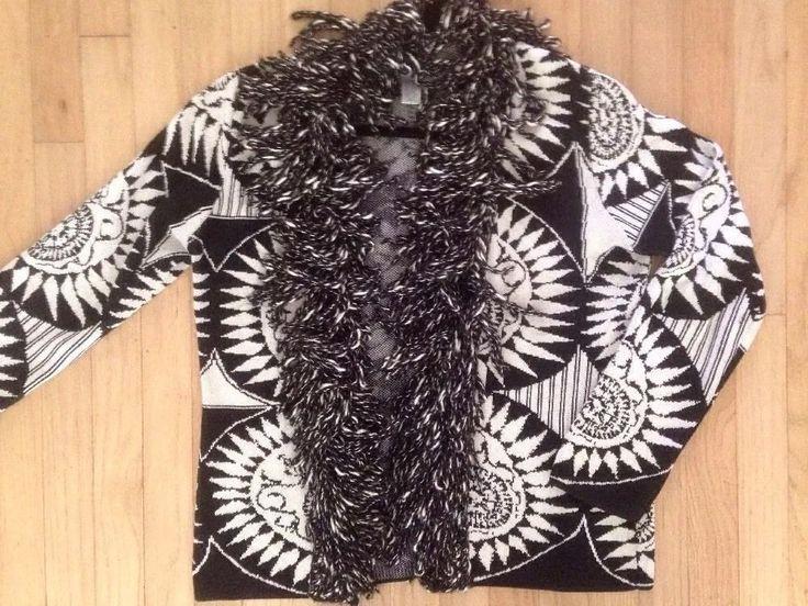 Chico's Size 1 Knitted Black/White Fringed Blanket Sweater Coat  | eBay