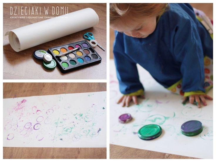 malowanie pokrywkami - kreatywna zabawa dla dzieci / stamping with jar lids