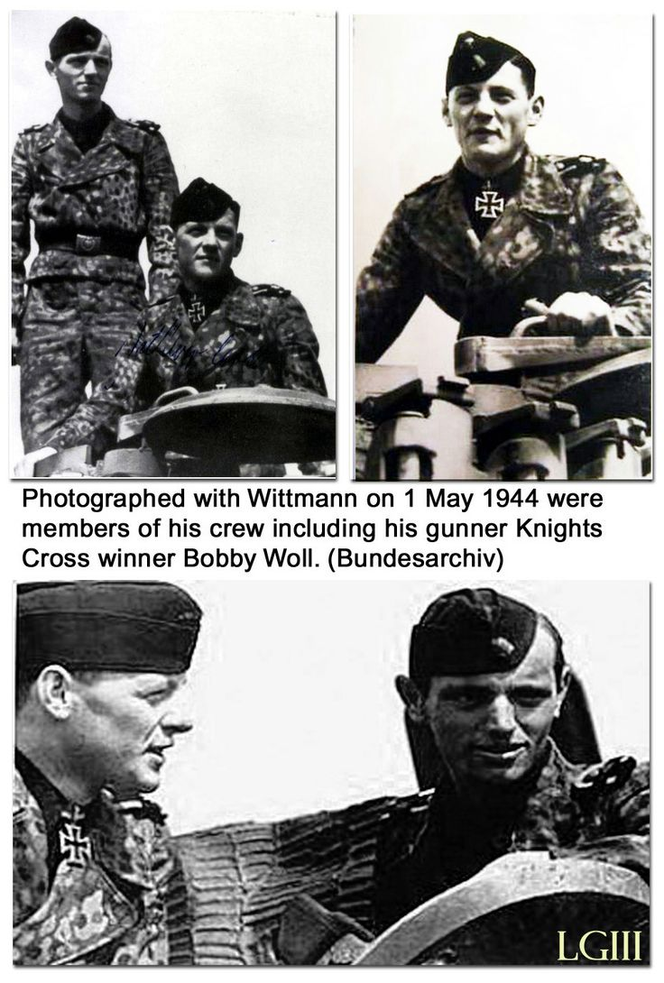 Wittmann's crew including Knights Cross winner Bobby Woll who was a bigger part of Wittmann's success than he is given credit for. Woll was one of few gunners at that time who could fire on the move continously compensating for distance, angle of attack and time to impact. Unfortunately for Wittmann Woll was not present on the day he foolishly crossed an open field with built up treeline and fortifications which cost him, his crew and other Tigers with him that day.