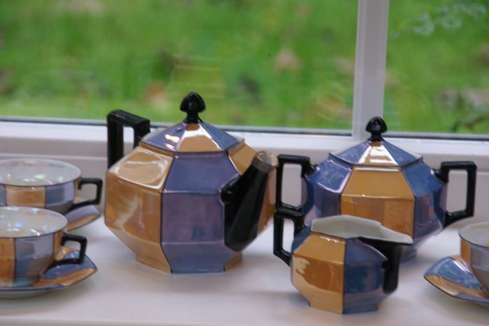 Catawiki online auction house: Art Deco lusterware tea set Czech, union K, 12 pieces