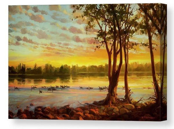 Sunrise on the Columbia stretched canvas wall art print from Steve Henderson Collections, celebrating morning hope and geese on the river  #sunrise #river #canvasart  #homedecor
