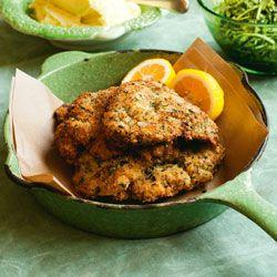 Herb & parmesan-crusted veal schnitzel with citrus potato purée & apple salsa verde
