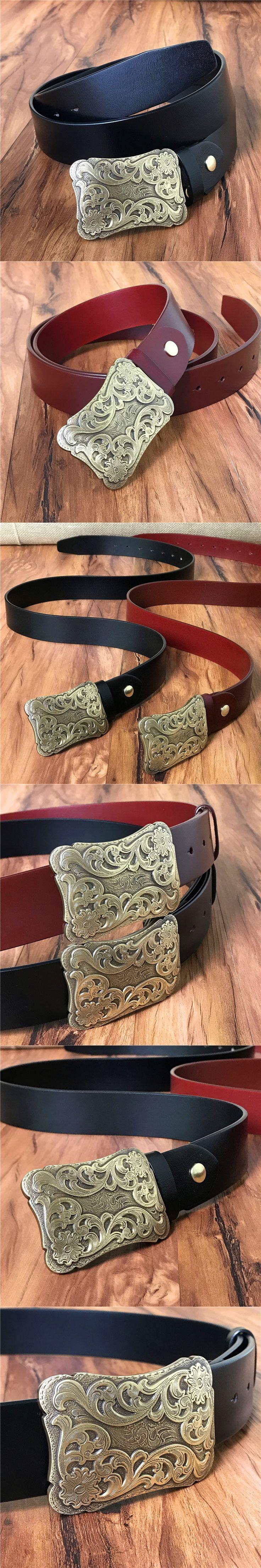Vintage Style Brass Belt Buckle Mens Belts Luxury Genuine Leather Belts For Men Ceinture Homme Cowboy Cinturones Hombre MBT0286