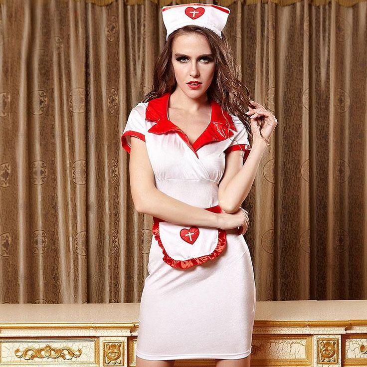 Purim costume women white red sexy nurse costume dress and Hat
