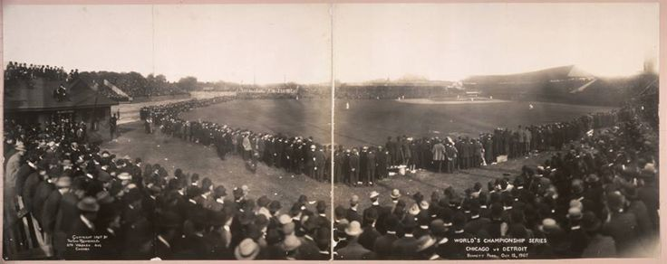 Rare panoramic photo of the Detroit Tigers' first World Series appearance in 1907 at Bennett Park. Tigers fans packed the grounds for the fifth and final game played on October 12 against the Chicago Cubs.
