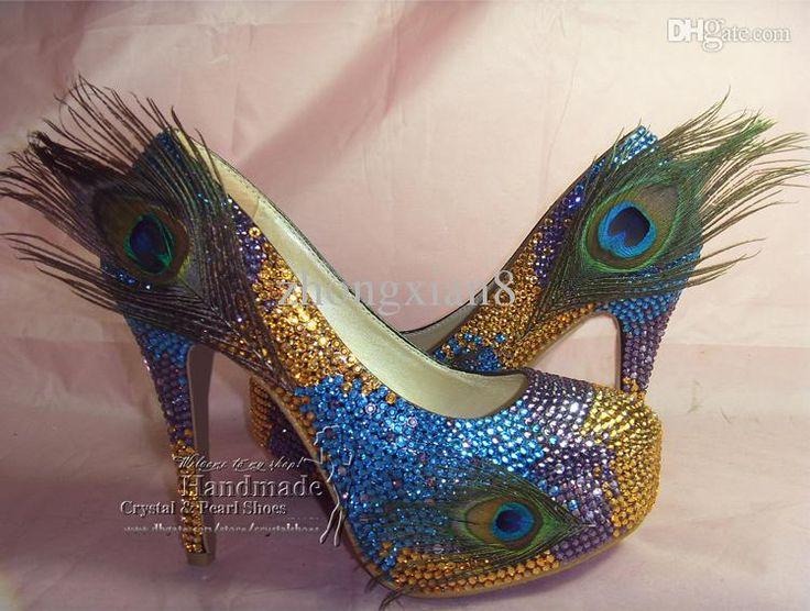 NEU Custom Design DAMEN HIGH HEELS SWAROVSKI KRISTALLPfauenFeder ABEND PARTY BLUE GREEN Funky Brauthochzeits-Schuhe 5,5 Zoll Fersen