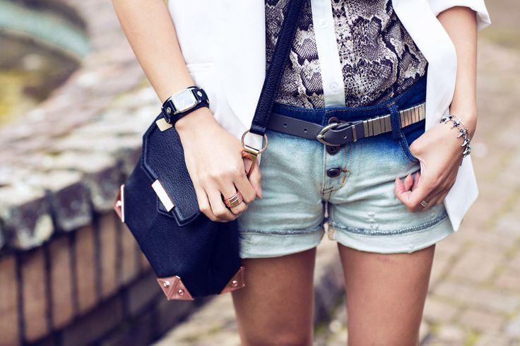 Topshop blazer - Printed shirt & denim shorts c/oRomwe-Regal Rosecross connector &