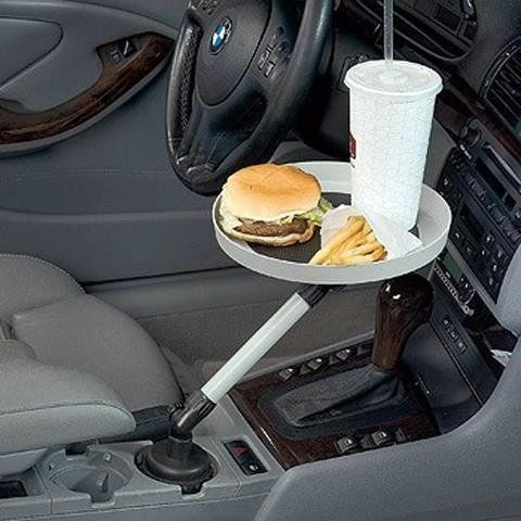 Who knew such clever things existed?!!!  Car Swivel Tray, $12