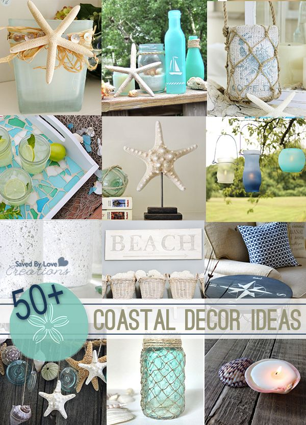 Over 50 DIY Coastal Decor Beach Inspired DIY projects @savedbyloves & 249 best Beach images on Pinterest | Bathrooms Beach decorations ...