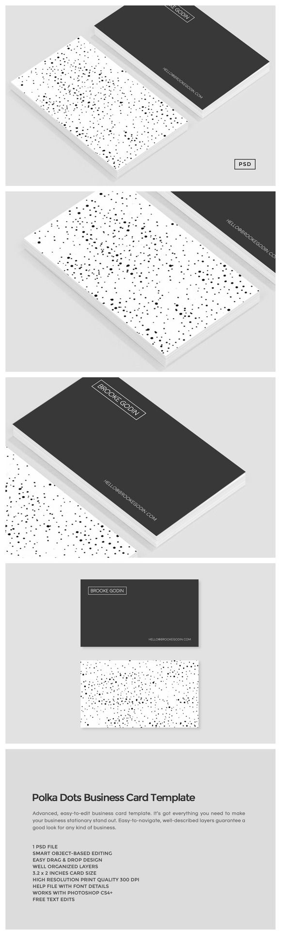 Polka Dots Business Card Template  This Double-sided business card design has a beautiful random and intentionally uneven polka dots pattern on the back. The simple black and white te... https://creativemarket.com/MeeraG/205635-Polka-Dots-Business-Card-Template?u=MeeraG&utm_source=Link&utm_medium=CM+Social+Share&utm_campaign=Product+Social+Share&utm_content=Polka+Dots+Business+Card+Template+~+Business+Card+Templates+on+Creative+Market