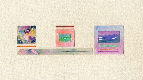 Vento di primavera, acquerelli e collage, 15x26 cm., 2001  http://visionipoetiche.com/2013/04/08/il-poeta-e-il-filo-derba/