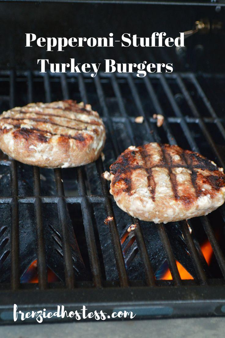 pepperoni stuffed turkey burger