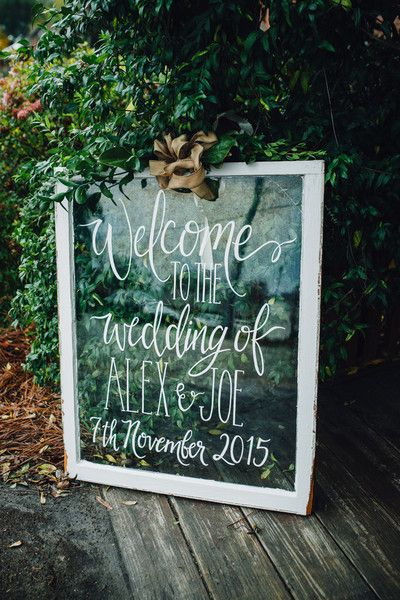 Welcome sign idea - clear glass panel in wooden frame with burlap bow {Cameron Reynolds Photography}