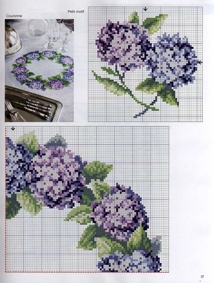 Cross stitch pattern. Flower wreath. Hydrangea. SAVED. Link to remaining piece: http://labadee.gallery.ru/watch?ph=QJU-bGi4i#feature=topscroll SAVED