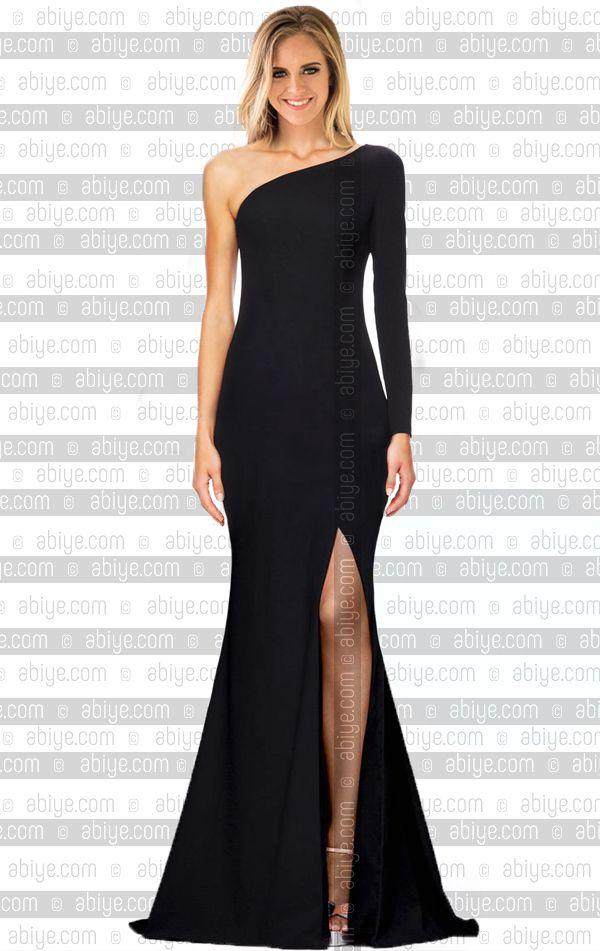053317b7e38d0 Tek Kollu Önden Yırtmaçlı Balık Abiye - Abiye.com #abiye #elbise #fashion