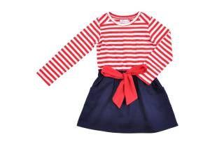 Vestido para niña, en color azul oscuro y con estampado de rayas rojas y blancas.