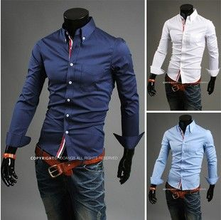 Spring 2014 men's shirts clothing casual shirt long-sleeved shirts Plus Size solid color shirt M men clothes blouses