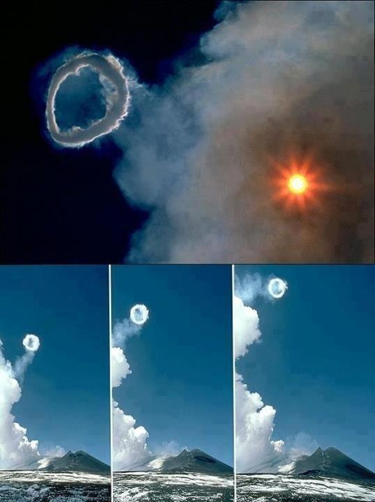 OMG! That is way cool. When Mount Etna erupted on April 11, 2013, it created amazing smoke rings. Volcanic smoke rings are rare, but well-documented.