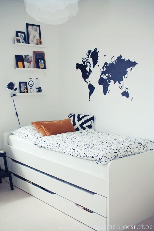 Khalif's room Teenage Room ButikSofie. White cabin bed and blue world map sticker on wall of cool boy's bedroom