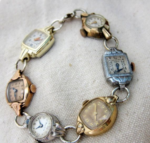 vintage watches made into a bracelet. cute idea if like me you have all your mother and grandmothers old watches that do not work anymore