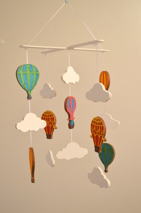 Hot Air Balloon Baby Nursery Wood Mobile by MyBooCreations on Etsy