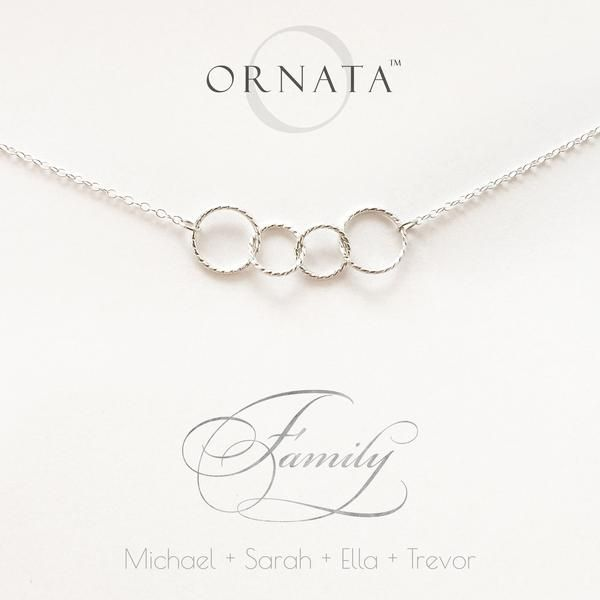FAMILY OF FOUR PERSONALIZED STERLING SILVER NECKLACES FAMILY JEWELRY NECKLACE FOR MOTHER