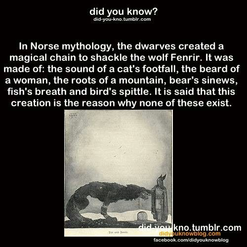 In Norse mythology, the dwarves created a magical chain to shackle the wolf Fenrir. It was made of the sound of cat's footfall, the beard of a woman, the roots of a mountain, bear's sinews, fish's breath and bird's spittle. It is said that this creation is the reason why none of these exist