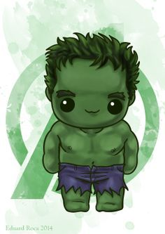 Nosotros tenemos un Hulk! #kawaii #cute #avengers #hulk #nikochancomics
