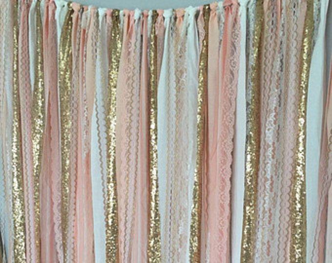 Perzik, roze & Gouden Sparkle pailletten stof achtergrond met Lace - bruiloft Garland foto Prop, gordijn, Baby Shower, voederbak Garland