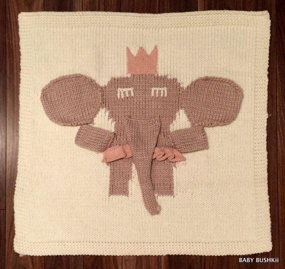 Chunky Knit 3-D Elephant Baby Blanket by BabyBushkii on Etsy