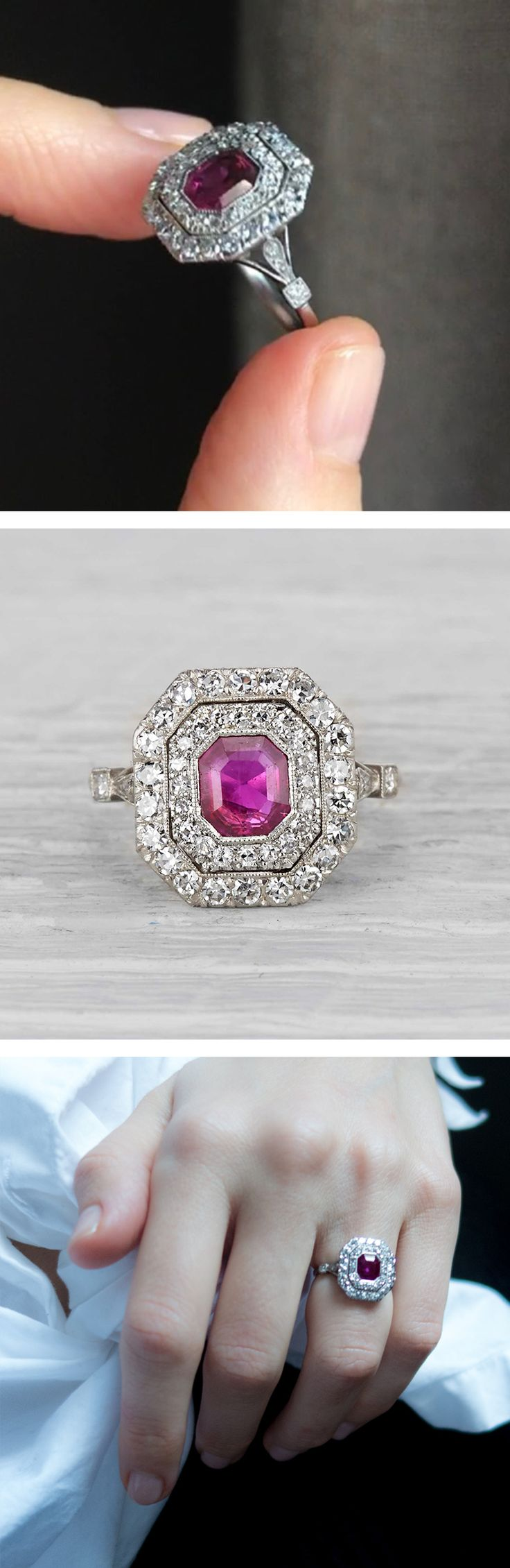 Antique Edwardian engagement ring made in platinum centered with an approximately one carat ruby accented with two rows of single cut diamonds. Circa 1915