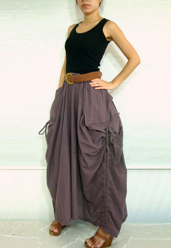 Lagenlook Hot Maxi Skirt Unique Long Skirt Big Pockets Summer Maxi Skirt - SK001 on Etsy, $49.50  This  looks so sharp and comfortable to wear I Got to have one!