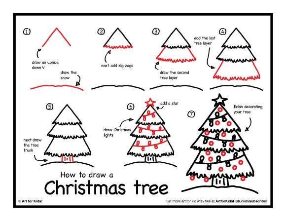 how to draw a christmas tree art for kids hub