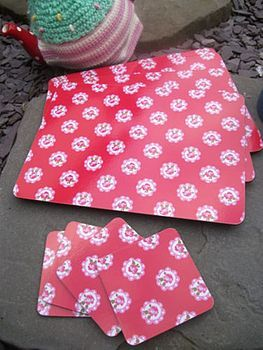 red ditsy placemats by the hiding place   notonthehighstreet.com