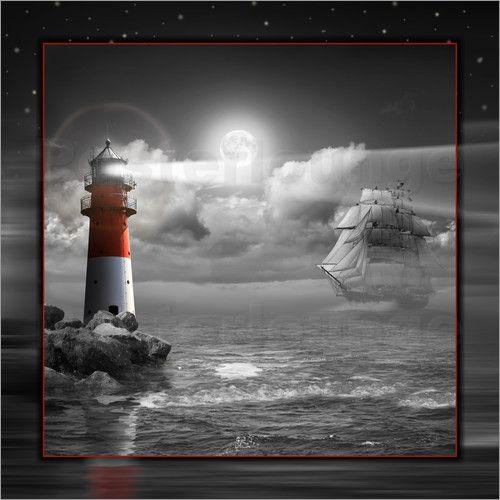 Poster leuchtturm und segelschiff im mondschein white printscolor