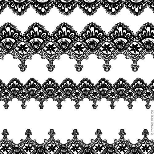 Digital Scrapbook Embellishment Clipart Lace Border Clip Art Download Pack in Black and White. $4.00, via Etsy.